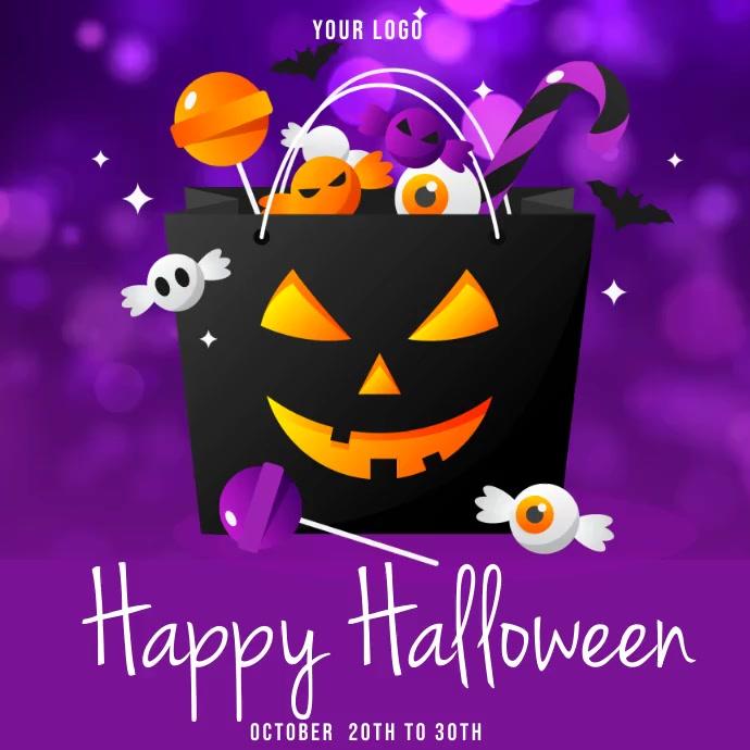 halloween sale template, happy halloween Instagram-Beitrag