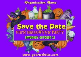 Halloween Save the Date Postkort template