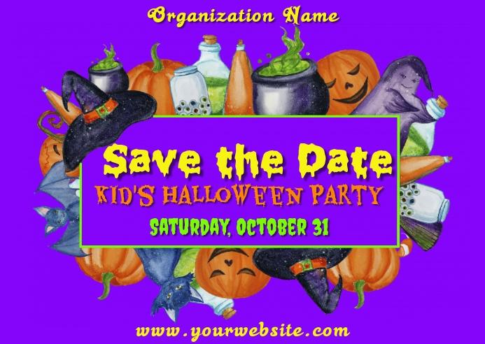 Halloween Save the Date Kartu Pos template