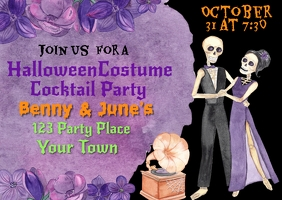 Halloween Skeleton Party Invitation Cartolina template