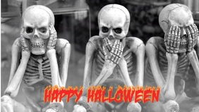 Halloween skeleton see speak hear no evil