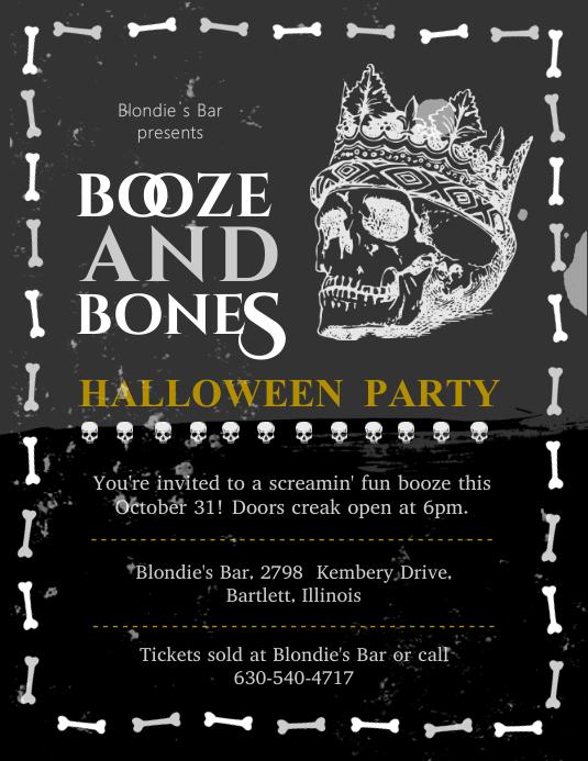 Halloween Skull and Bones Black Poster Template