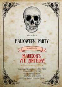 Halloween skull birthday party invitation A6 template