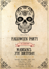 Halloween skull birthday party invitation A6 template