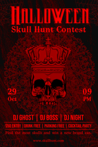 Halloween Skull Hunt Contest Poster