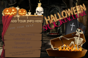 Halloween Skull Skeleton Pumpkin Jack Coffin Creepy Fun Kids