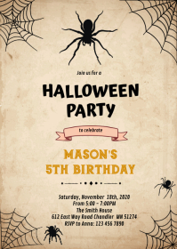 Halloween spider Birthday Invitation A6 template