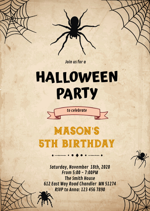 Halloween spider Birthday Invitation A6 template
