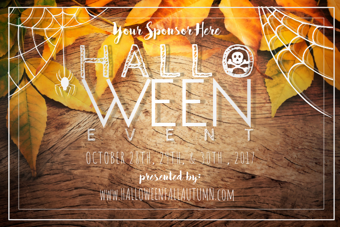 halloween spider web skull leaves harvest fall autumn rust template
