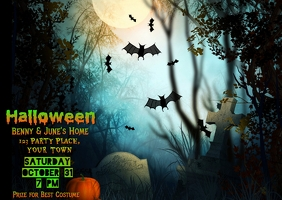 Halloween Spooky Graveyard Invitation ไปรษณียบัตร template