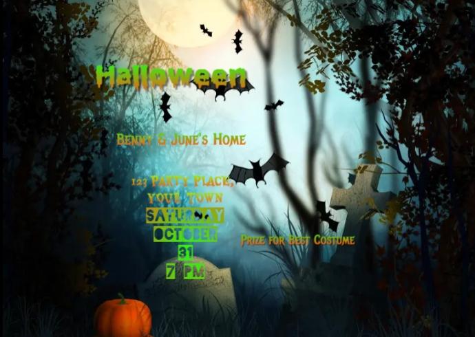 Halloween Spooky Graveyard Invitation Kartu Pos template