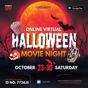 Halloween Spooky Movie Night Online Invite Square (1:1) template