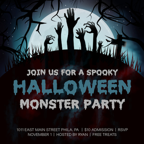 Halloween Spooky Party Event Social Media Invitation