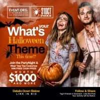 Halloween Theme Party Post Template Message Instagram