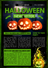 Halloween themed Newsletter Green A4 template