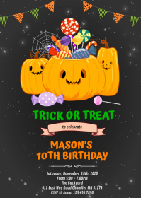 Halloween trick or treat birthday A6 template