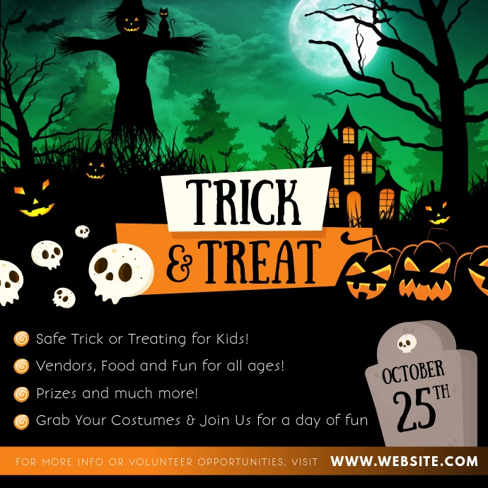 Halloween Trick or Treat Instagram Video Vierkant (1:1) template