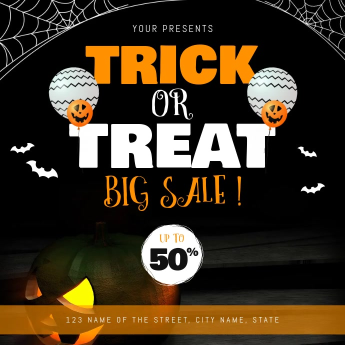 Halloween Trick or Treat Sale Square Video 方形(1:1) template