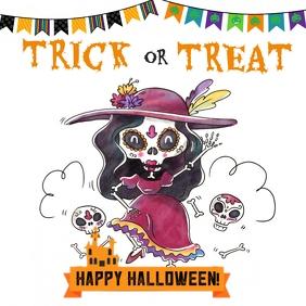 Halloween trick or treat template Instagram Plasing