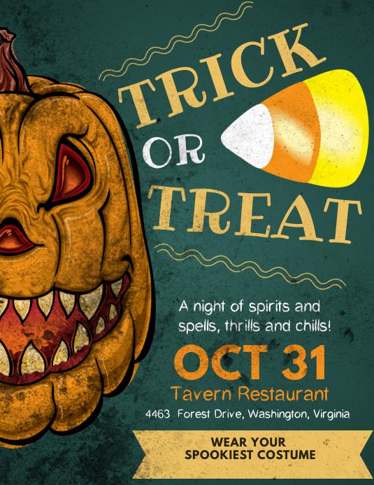 Halloween Trick or Treat Vintage Poster Template Løbeseddel (US Letter)