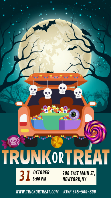 Halloween trunk or treat, trick or treat Instagram-Story template