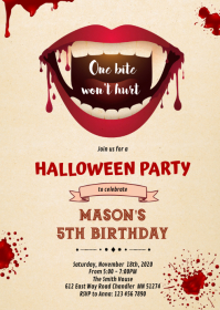 Halloween Vampire Birthday Invitation A6 template