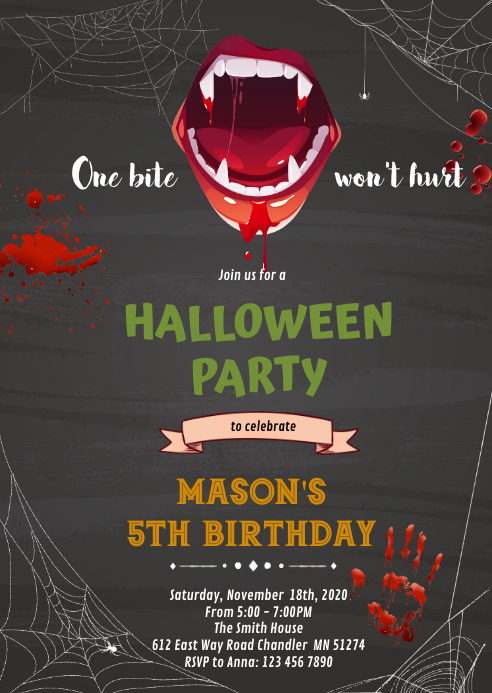 Halloween Vampire Birthday Invitation A6 template