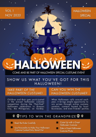 Halloween Vampire Castle Newsletter A4 template