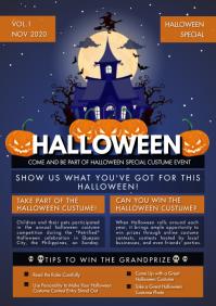 Halloween Vampire Castle Newsletter A4 template