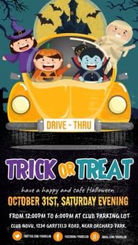 halloween video, drive-thru trick or treat Digital Display (9:16) template