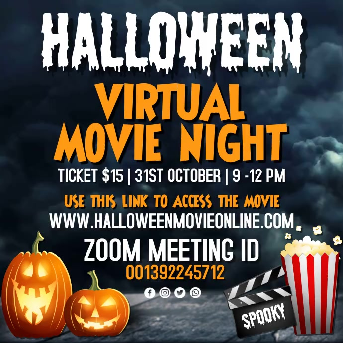halloween video, halloween movie night Instagram-Beitrag template