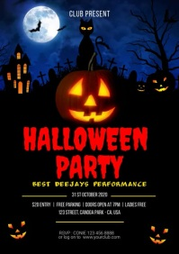Halloween video animated flyer template A4