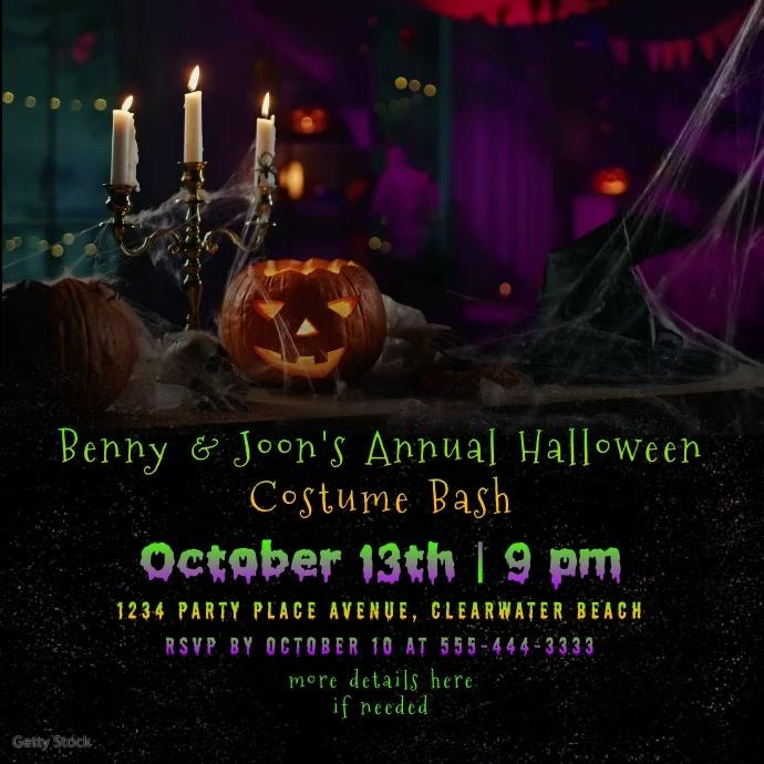 Halloween Video Audio Invitation Instagram-bericht template