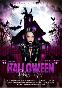 Halloween video poster A4 template