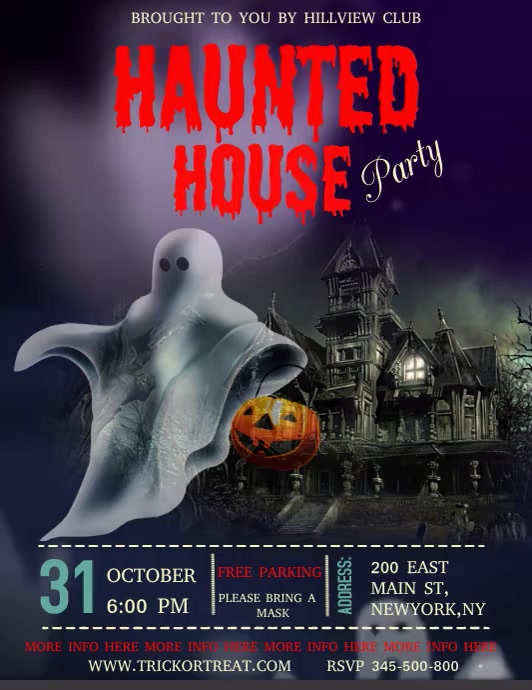 Halloween video template, haunted house party Løbeseddel (US Letter)