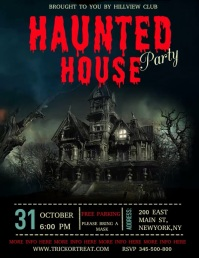 Halloween video template, haunted house party Flyer (US Letter)
