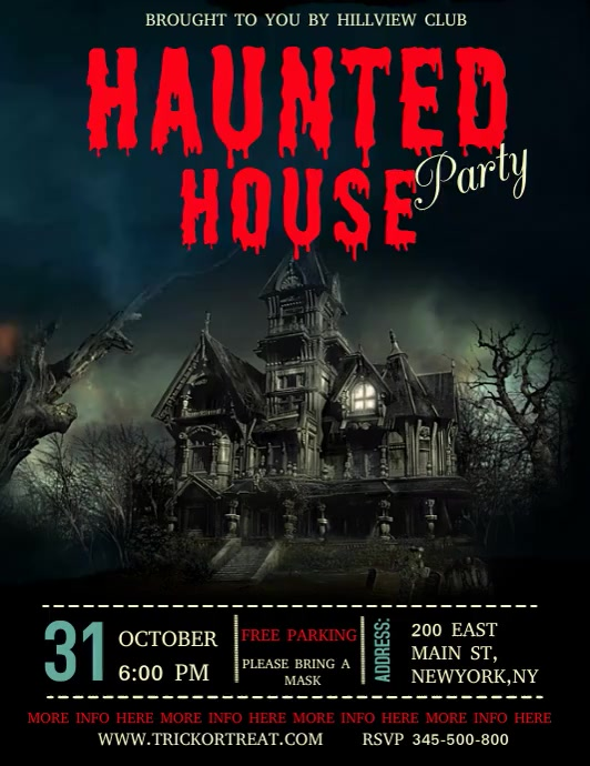 Halloween video template, haunted house party ใบปลิว (US Letter)