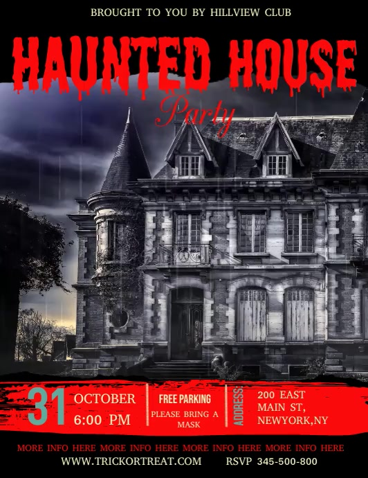 Halloween video template, haunted house party Volante (Carta US)