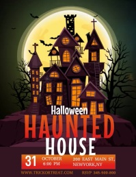 Halloween video template, haunted house party Folheto (US Letter)