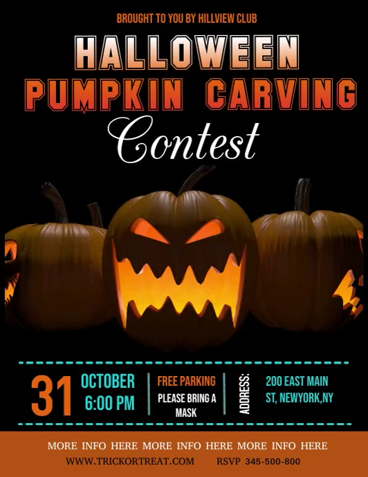 halloween video template, pumpkin carving Løbeseddel (US Letter)