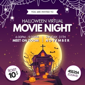 Halloween Virtual Movie Night Invitation Instagram Post template
