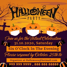 Halloween Virtual Party Promo Template Instagram Plasing
