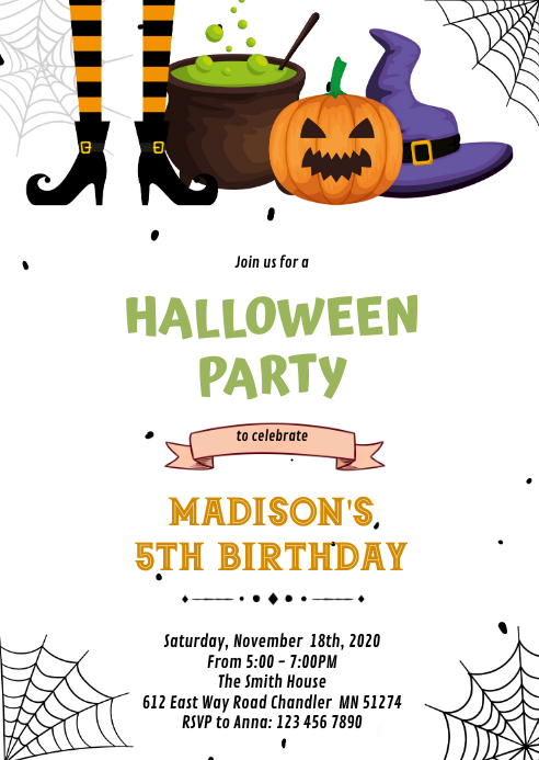 Halloween witch Birthday Invitation A6 template