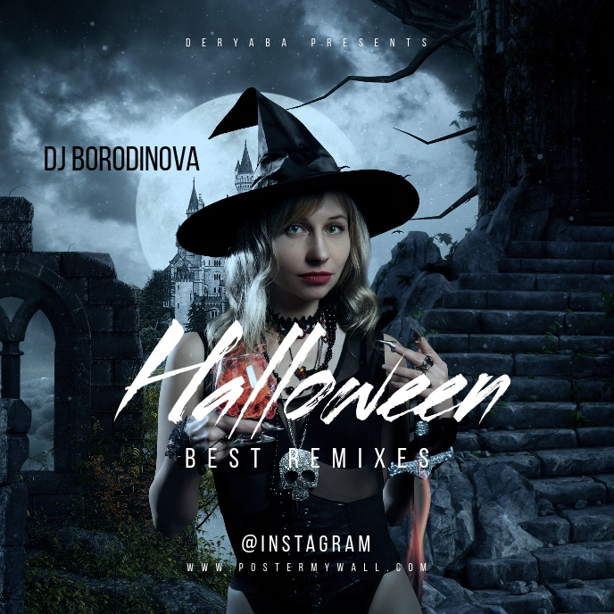 Halloween Witch Castle Moon CD Cover Art template