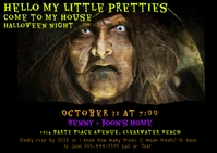 Halloween Witch Invitation Postcard template