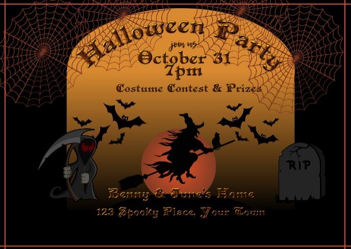 Halloween Witch Invitation Postcard