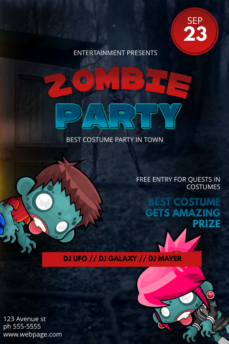 Halloween Zombie Party Flyer Template | PosterMyWall