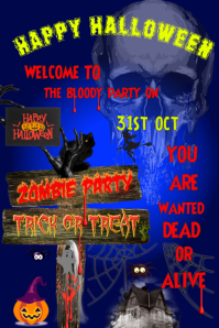 halloween zombie party scary flyer ghost poster