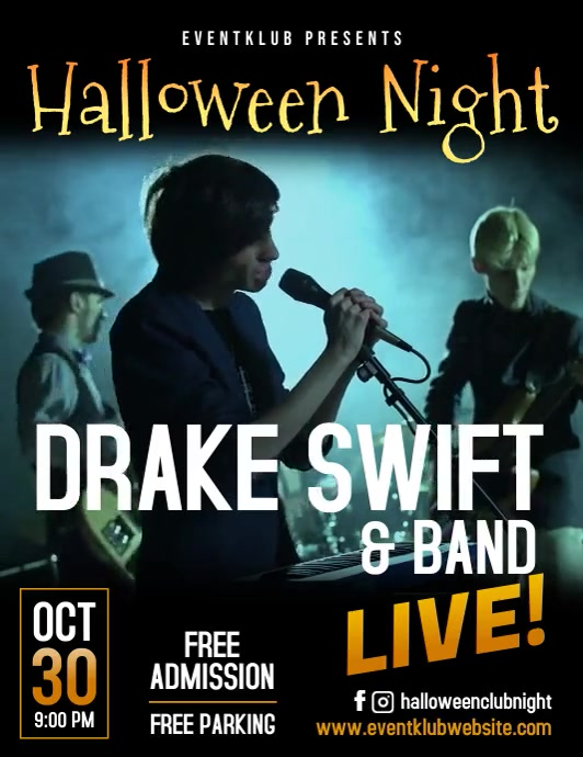 Hallowing concert party night video flyer ใบปลิว (US Letter) template