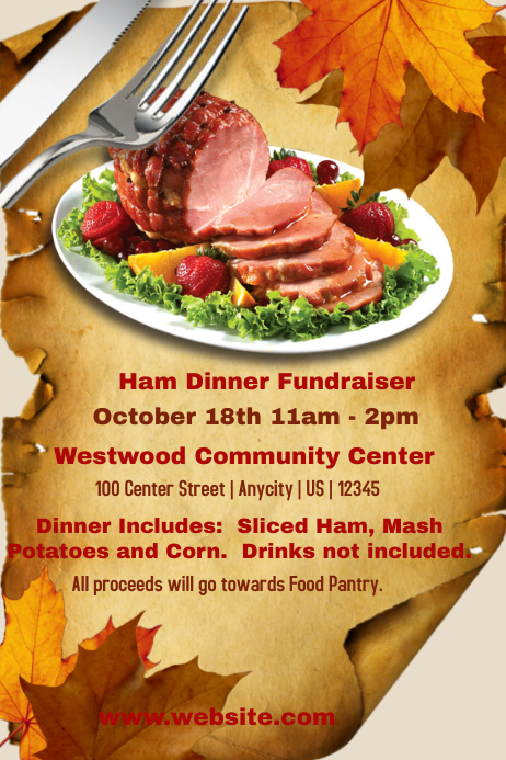 ham dinner fundraiser template postermywall